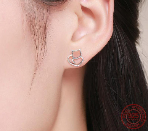 925 Sterling Silver Cute Cat Small Stud Earrings Jewelry