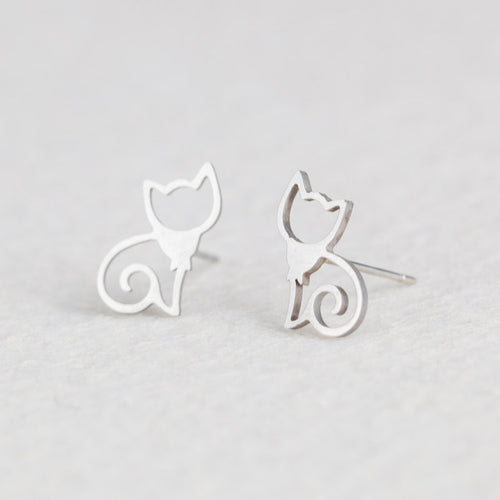 Silver Stainless Steel Cat Earrings for Girls Minimalist Jewelry Accessories