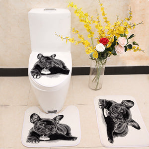 Cute Black French Bulldog Print 3pcs/Set Toilet Seat Cover Bathroom
