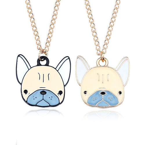 Cute Colorful French Bulldog Necklaces Pendants Gold Black