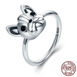 925 Sterling Silver French Bulldog Dog Ring Jewelry