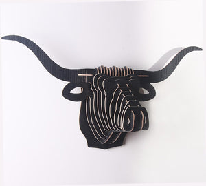 3D Puzzle Wooden DIY Cow Wall Hanging Buffalo Buff Head 50x24x16cm