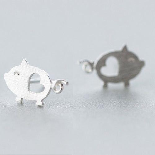 New Heart Hollow Cute Pig Push-back Stud Earrings Jewelry