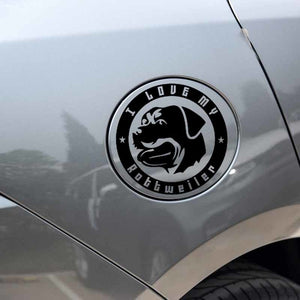 12CM*12CM I LOVE MY Rottweiler Dog Vinyl Car Decal Black/Silver