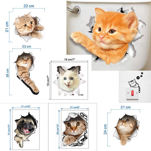 New 3D Bright Cat Wall Stickers Decorative Animal Wall Stickers Posters