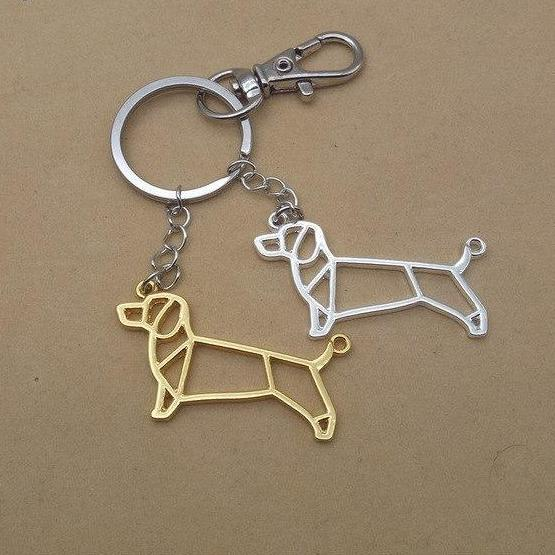 Origami Dachshund Keychains Gold Color Silver Jewellery Barnsmile