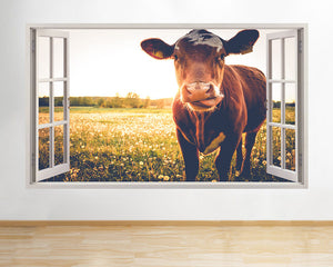 Cow Tongue Cute Window 3D Wall Decal Art waterproof Removable Wallpaper