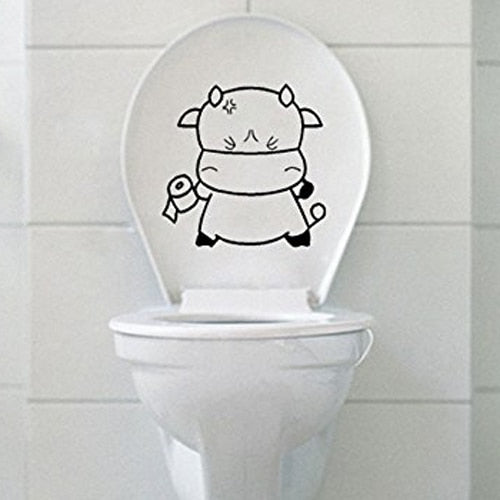 Lovely Decorative Cow Wall Art Decal/Sticker for Toilet Bathroom