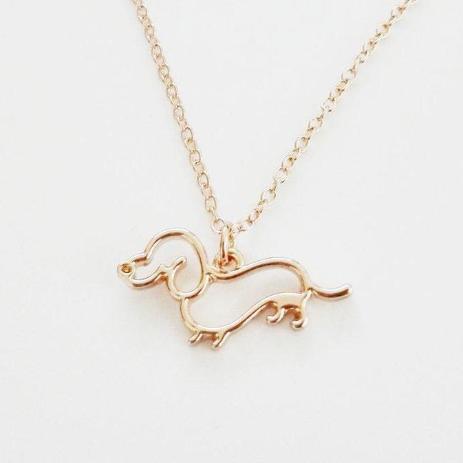 Lovely Pendant Necklace Gold Silver Gold Dachshund Jewelry