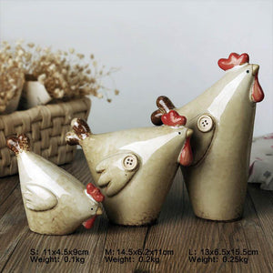 3pcs/Set Cute Cock Family Figurines Miniatures Lovely Ornament Home Decor
