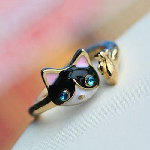 Cute Cat Ring Adjustable Lovely Kitten Ring for Women Young Girl Child Animal Jewelry