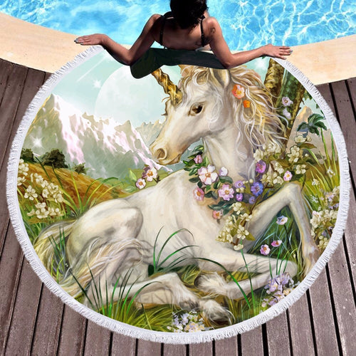 3D Unicorn Round Beach Towel Painting Tassel Tapestry Blanket