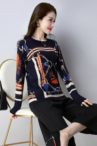 Sweater Autumn Winter Loose Knitted Sweater Color horse print Pullover Women O-Neck sk02
