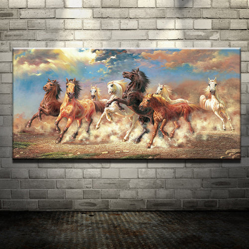 8 Running Horse Printed Oil Painting On Canvas