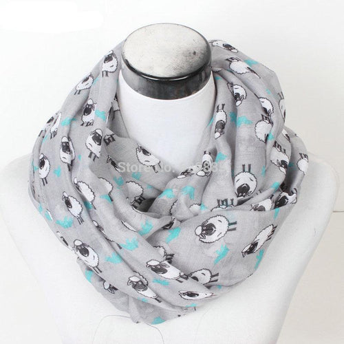 Women Winter Sheep Scarf Lovely Print Loop Scarves Female Goat
