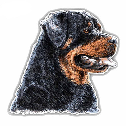 14CMx14CM Rottweiler Dog Head PVC Car Sticker