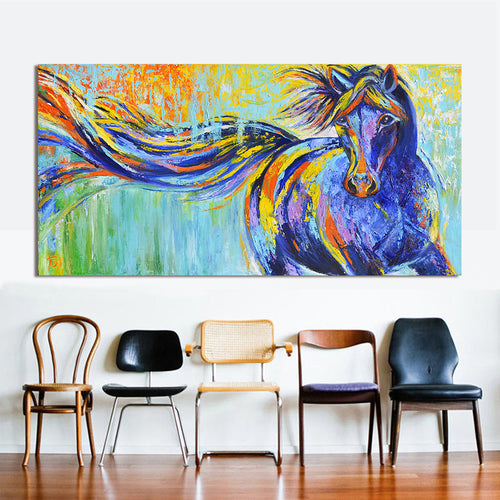 Wall Art Canvas printed Colorful Running Horse - No Frame