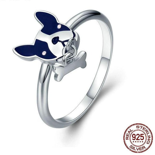 925 Sterling Silver French Bulldog & Dog Bone Rings Jewelry