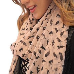 Women's Chiffon Printed Sweet Cartoon Cat Scarf Graffiti Style