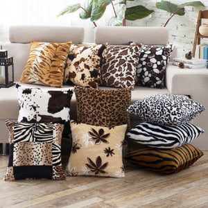 Cushion Covers Animal Skin Pattern Tiger Cat Cow Leopard Soft Fleece