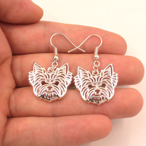 Cute Yorkshire Terrier Dog Pendant Earrings Golden Silver