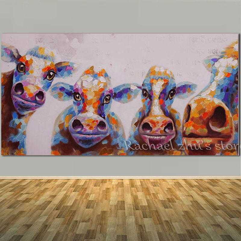 b9352c15750 Hand Painted Abstract Cow Oil Painting On Canvas – Barnsmile.com