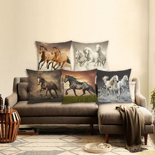 Horse Pillow Case Sofa Cushion Pillow Cover Realistic oil painting