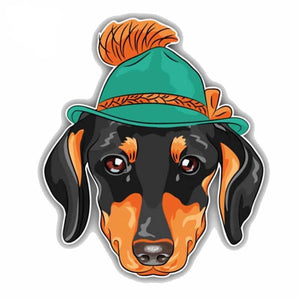 12.8CMx15CM Hipster Dachshund Dog Head Car Stickers