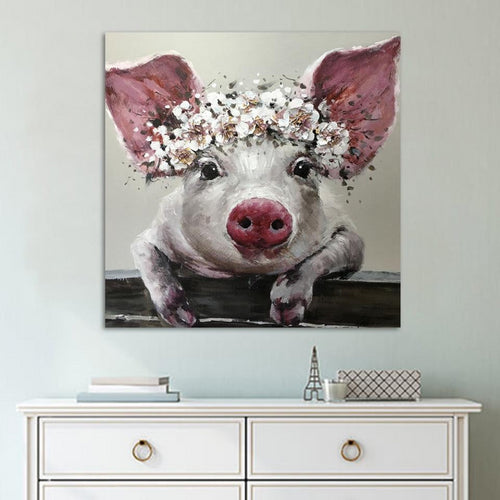 Wall art Canvas Cute Pig with Flower Prints