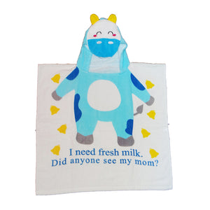 100% Cotton Wearable  Cute Cow Towel