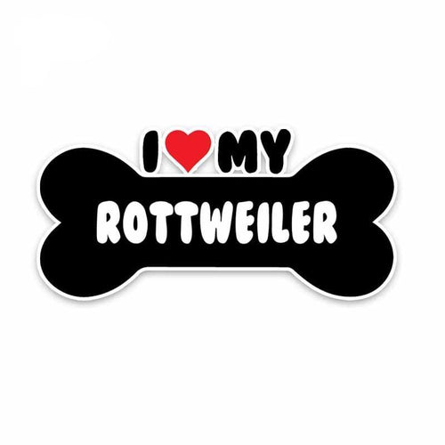 15*7.1CM I Heart My Rottweiler Dog Bone PVC Car Sticker Decals