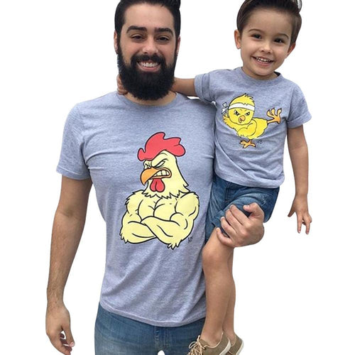 Father And Son Style Cute Chicken