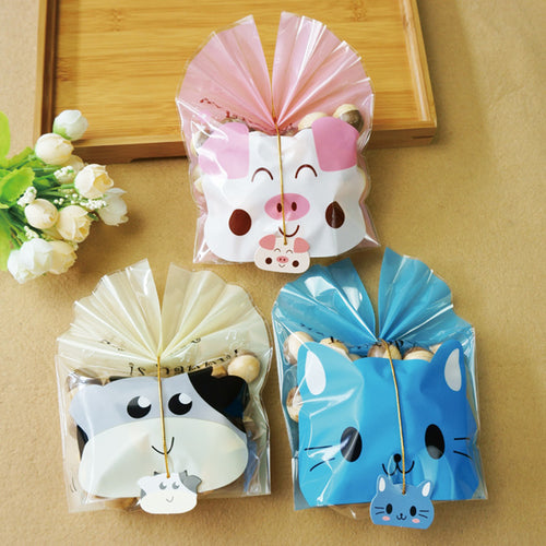 5 pcs/lot  Cartoon Cow Cat Cake Biscuit Cookies Packaging Bag baby shower gift candy boxs