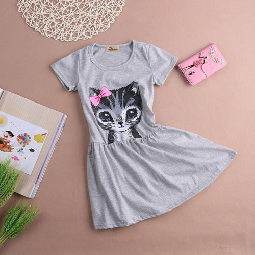 Girl dress cat print grey 0-8years