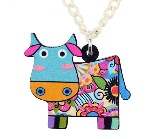 Acrylic cute Cow Necklace Pendant