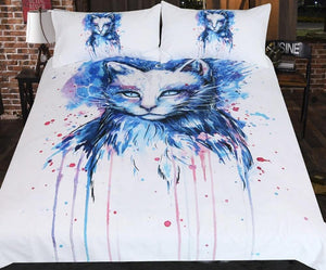 Space by Pixie Cold Bedding Set Watercolor Duvet Cover With Pillowcases Cat Eye