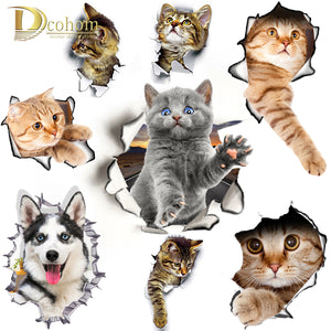 Hole View Cat Dog 3D Wall Sticker Waterproof Poster
