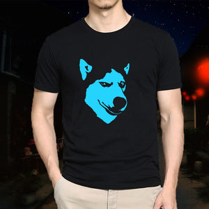 100% Cotton Adult  Fluorescent Siberian Husky  T-shirt S-5XL