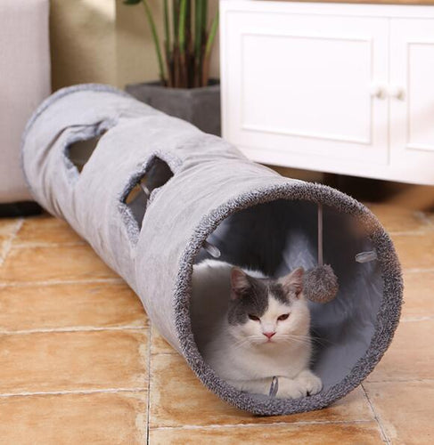Collapsible Cat Tunnel Crinkle Kitten Play Tube for Large Cats Dogs Bunnies With Ball Fun Cat Toys 2 Suede Peep Hole pet toys