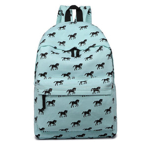 Backpacks Canvas, Laptop Travel Rucksack Shoulder Bags Casual Fashion - Horse