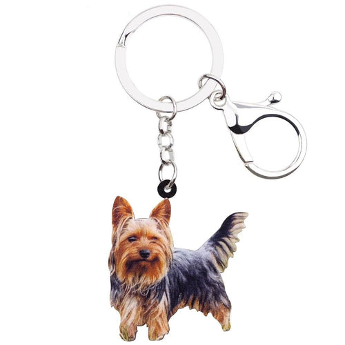 Yorkshire Terrier Dog Key Chains Animal Keyrings