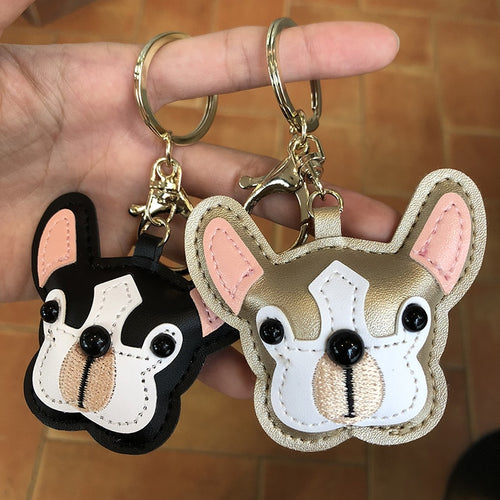 French Bulldog Leather Key chain Style Pendan