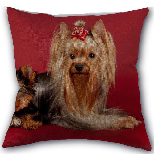 Fashion High Quality Cotton Linen Yorkshire Terrier Pillow cover