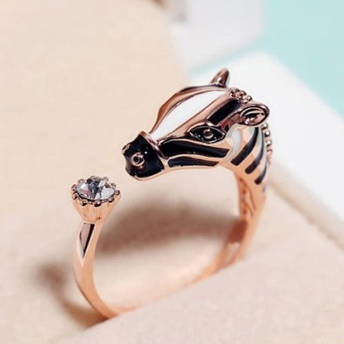 Women Fashion Zebra Horse Head Adjustable Index Finger Opening Ring Characteristic Jewelry
