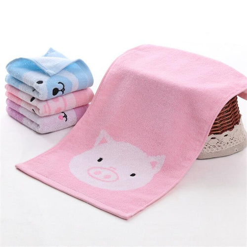 Towel Dry Soft Skin Cartoon Pig Bear Rabbit Face - Cotton 25*50cm