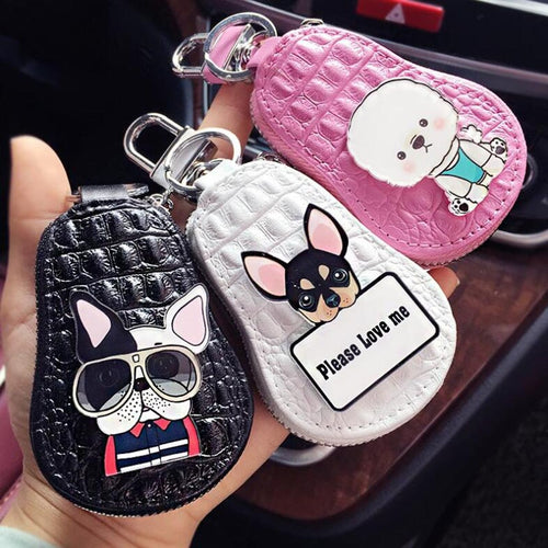 Lovely Dogs Poodle Chihuahua Bulldog Key Packet Leather Keychain