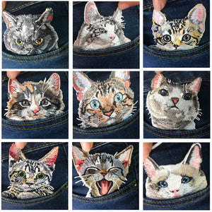2 pcs cat patches for clothing iron embroidered patch applique on accessories Jeans