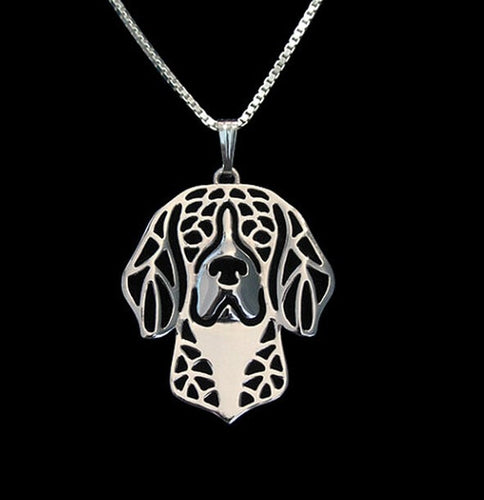 Beagle dog necklace Carved pendant jewelry Silver/golden