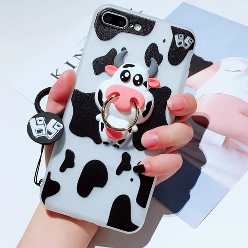 iphone case - soft Cute milch cow silicon back  ring stand rope toys