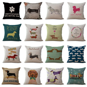 Cute Dachshund Dog Pillow Cover for Sofa Home Decoration
